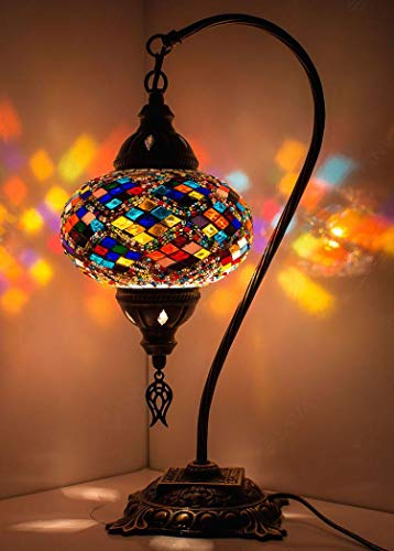 New BOSPHORUS Stunning Handmade Swan Neck Turkish Moroccan Mosaic Glass Table Desk Bedside Lamp Light with Bronze Base Multicolor