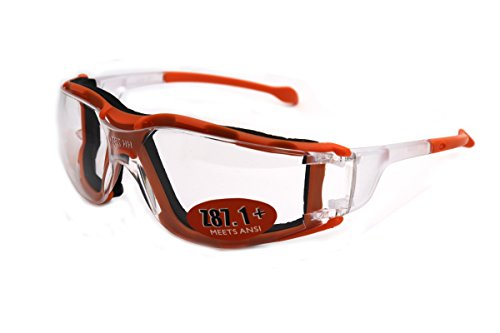 Colorviper Sports Ski Runing Safety Glasses Sunglasses Detachable Cushion Meets ANSI Z87.1 (Polycarbonate Clear Lens - ORANGE, one size) ()