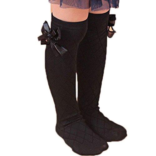 Bluelans/® Girls Kids Soft Cotton Striped Knee High Socks with Lovely Bow Decor