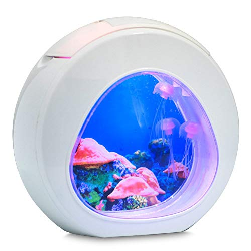(CZT Jellyfish Night Light, Night Light Led Mini Water Fish Tank Desktop Small Acrylic Jellyfish Gift USB Smart Home Decoration Night Light,White)