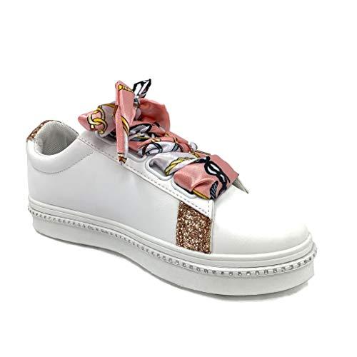 Raso Cm Tennis Bcbg Tacco Moda Rosa Piatto 2 Sneaker In Donna Scarpe Angkorly Lacci Comfortable Perforato qHUazx6