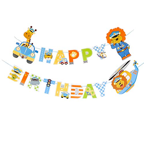 Amosfun Animal Police Car Bunting Banner Happy Birthday Garland Banner Baby Birthday Party Supplies Decoration Party Pull Flag