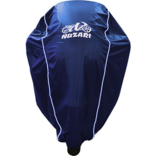 Premium Heavy Duty Outdoor Motorcycle Cover. Waterproof All Season Polyester w/Soft Screen Shield. Heat Resistant Lockable fabric that is Durable & Long Lasting. Fits Sportbikes & Cruisers (Med Navy)