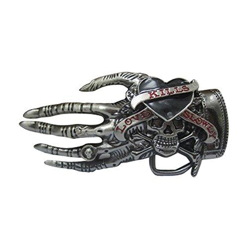 Mens Skull Wings - E-Clover Designer Adult Cowboy Vintage Skull With Wings Western Belt Buckle (Style8)
