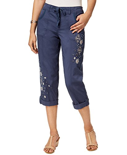 (Style & Co. Womens Embroidered Comfort Waist Capri Pants Blue 10)