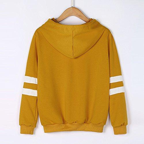 - HIRIRI Women Print Blouse Striped Loose Sweatshirt Teen Girls Casual Long Sleeve Tops Hoodies Yellow