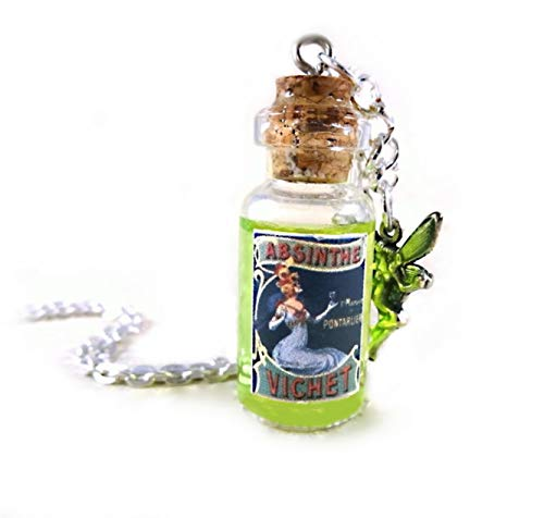 Absinthe Mini Glass Bottle Green Liquid Shimmer Necklace Charm with Fairy]()
