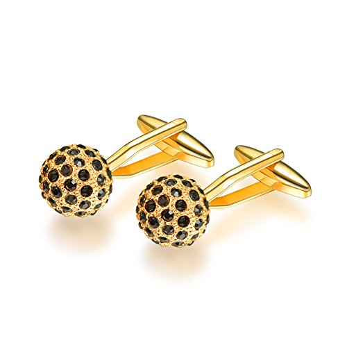 U7 Black Rhinestone Cuff Links Crystal 18K Gold Plated Men Golfer Ball Cufflinks