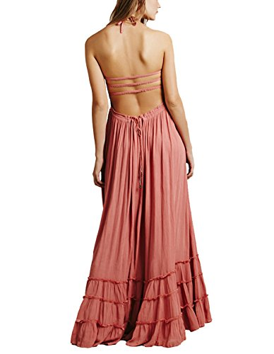 Dress CA Pink Evening Women's Bridesmaid Prom Gown Mode Maxi Long Formal Halter BOwBxrgqv