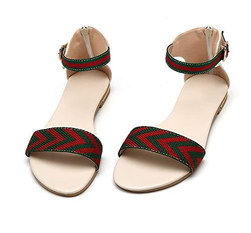 Blanc Couleurs Sandales d'orteil Mélangées Femme TSFLG005367 à AalarDom Talon Bas Ouverture 8qvYxAwH