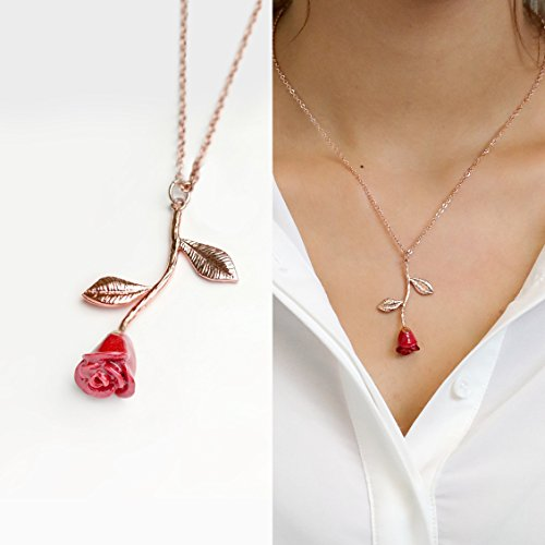 Beauty and the Beast Rose Necklace in Red Petal and Rose Gold Anniversary Gift for her Personalized Bridesmaid Gift Unique Gifts for Women Mothers Day Gifts - 3ERN