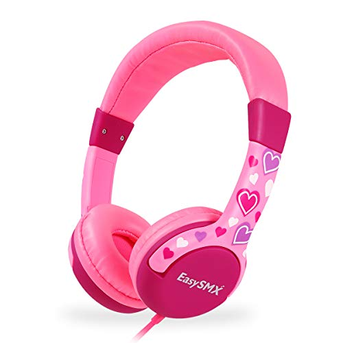 Kids Headphones for Girls, EasySMX 3.5mm Comfortable Over-Ear Headsets with 85dB Volume Limited, Lovely and Safe Gifts for Children Age of 3-12 (Pink)