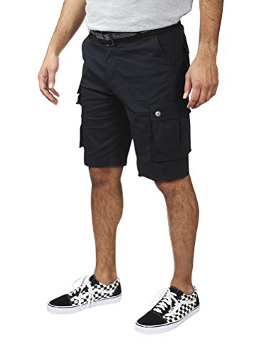 VINTAGE GENES 1891 Mens Stretch Poplin Cotton Cargo Shorts Black Size ()