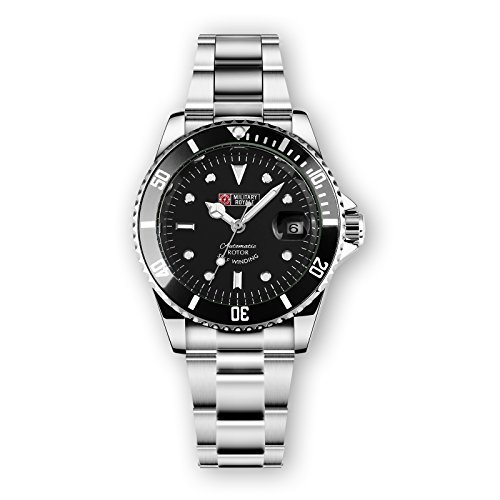 Military Royale Mens Watch Automatic Silver Case Black Bezel Stainless Steel