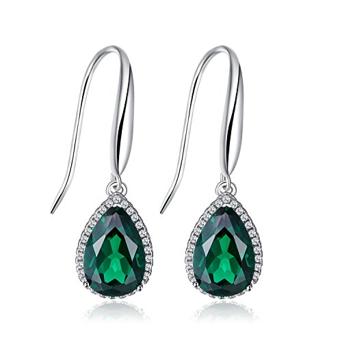 JewelryPalace Pear 5.4ct Simulated Green Nano Russian Emerald Dangle Earrings Solid 925 Sterling Silver (Russian Emerald)