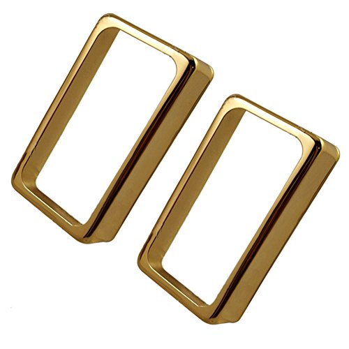 Timiy Electric Guitar Pickup Cover Accessories Open Frame Humbucker Pickup Cover 2Pcs (Gold) ()