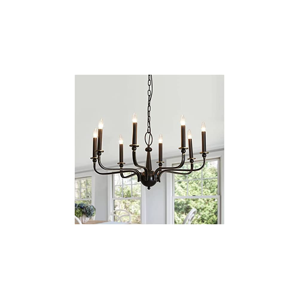 ASGYISA 8-Light Black Chandelier Farmhouse, French Rustic Vintage Iron Ceiling Lights Fixture ,Hanging Pendant Light for…
