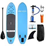 ANCHEER Inflatable SUP Stand-Up Paddle Board Package, Single Layer Blue Deal