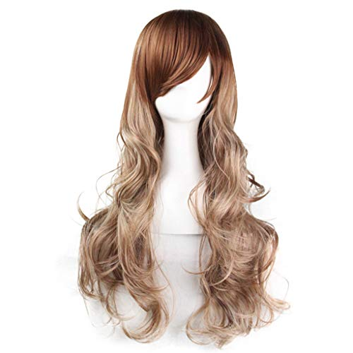 Horenme Natural Women Wig Blonde Fluffy Hairstyle Girls Cosplay Anime Curly Wavy Heat Resistance Synthetic Hair Wigs Fashion Bangs 75cm Long Cos Europe Hair