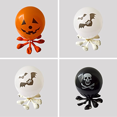 Black And Orange Party Decorations (Halloween Balloons for Party Decoration-100% Latex-12 Inches Orange & Black &White Colors- 50 pieces)