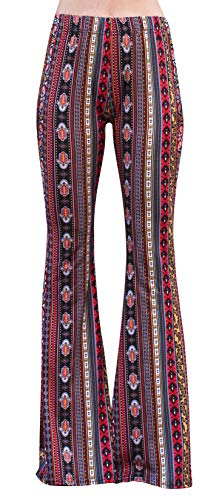 Daisy Del Sol High Waist Gypsy Comfy Yoga Ethnic Tribal Stretch Palazzo 70s Bell Bottom Fit to Flare Pants (XL, Red/Yellow) -