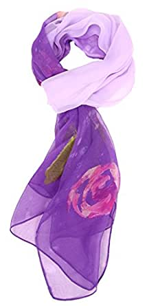 LibbySue-Floral & Graphic Print Silk Blend, Oblong Scarf in Dramatic Colors (Monet Purple)