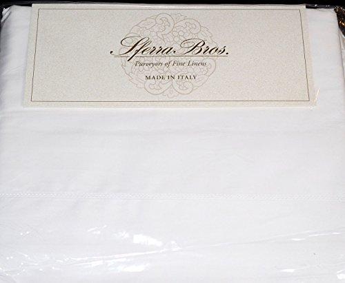 - Sferra Bros King White Sheet Set 100% Long Staple Cotton Sateen Made in ITALY