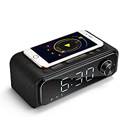 Bluetooth Speaker V5.0 with Qi Wireless Charger Alarm Clock FM Radio for iPhone Samsung, Stereo Sound Wireless Bluetooth Speaker with Microphone Hands-Free Calls, LED Dimmable Display for Nightstand