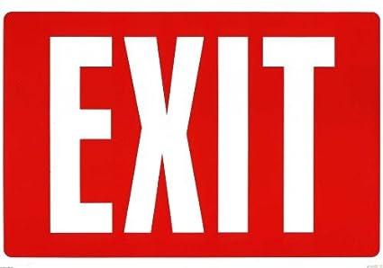Cartel restaurante Negocios salida Inglés plástico (Exit Red ...