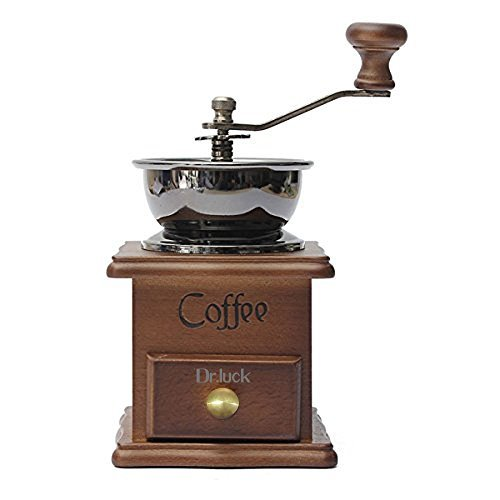 Dr.Luck Manual Coffee Bean, Hand Grinder Spice Herbs Vintage Style Wooden Retro Burr Mill, Hand Grinding Machine, Classic Grain Mill, Manual Grinding Bean Machine (Sliver)