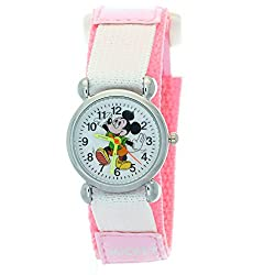 TimerMall Pink Cartoon Disney Mickey Mouse Analogue Quartz Nylon Velcro Kids Watches