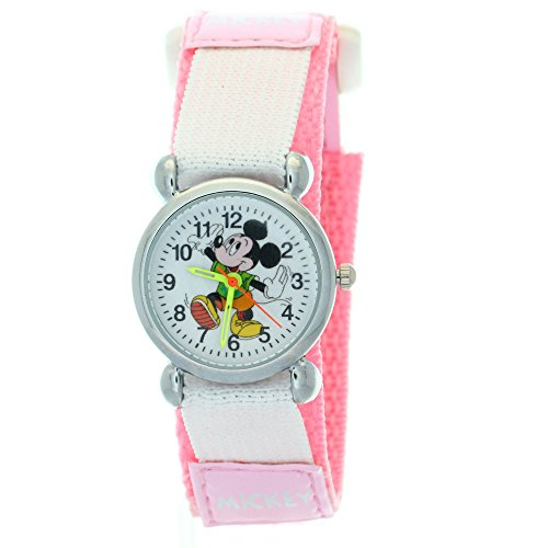 TimerMall Pink Cartoon Disney Mickey Mouse Analogue Quartz Nylon Velcro Kids Watches Watch Mickey Mouse Christmas