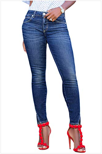 Houjibofa Jeans skinny anteriori a fessura per donna Blue