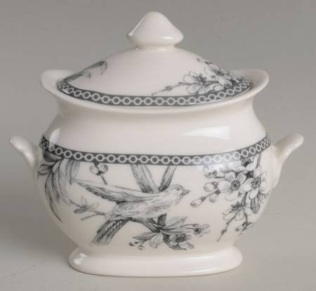 222 Fifth (PTS) Adelaide-Grey & White Sugar Bowl & Lid, Fine China Dinnerware ()