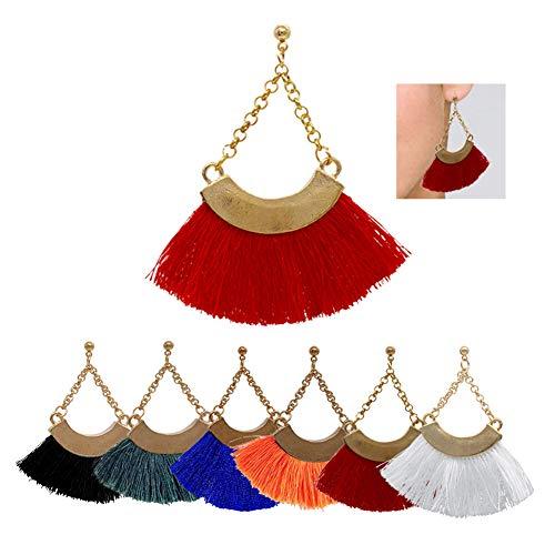 AMCHIC Fan Bohemian Statement Chain Pending Silky Tassel Fahion Earrings for Women Dangling,Thread Fringe with Vintage Ethnic Pattern Metal Drop Pendant Earrings,Ladies' Gift