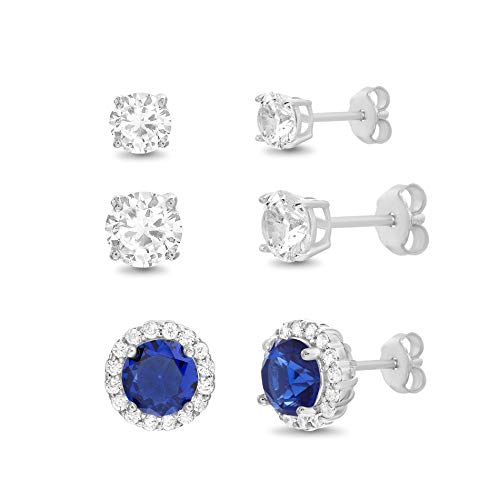 MIA SARINE Simulated Blue Sapphire and Cubic Zirconia 3 Pair Bridal Gift Stud Earring Set for Women in 925 Sterling Silver