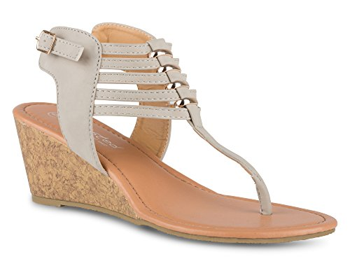 Twisted Women's Riley Braided T-Strap Low Wedge Sandal with Strappy Ankle Wrap - RILEY16 Beige, Size ()
