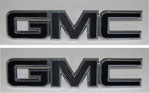 (Shop Vinyl Design GMC Front and Rear Emblem Overlay Kit Yukon, Sierra, Denali, Acadia, Terrain 3M Black Carbon Fiber - 2 Kits)
