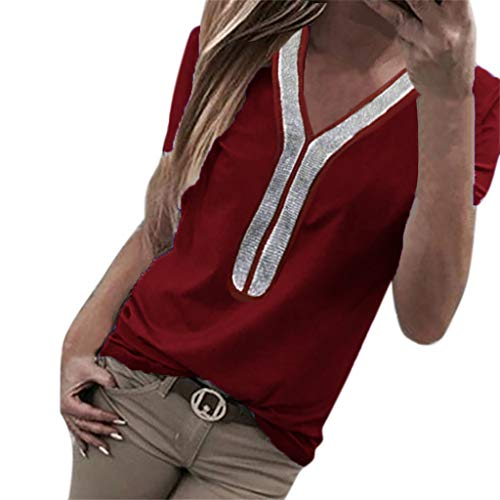 NCCIYAZ Womens T-Shirt Sequins Short Sleeve V-Neck Tops Costume Ladies Blouse Plus Size Oversized(M(6),Wine)]()