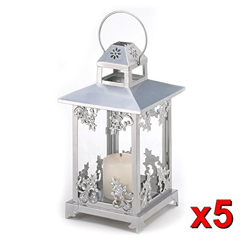 5 Silver Scrollwork Candle Lantern Wedding Centerpieces 15 1 2