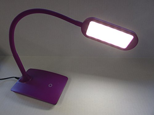 TW Lighting IVY-40BK The Ivy LED Desk Lamp with USB Port, 3-Way Touch Switch (Purple)