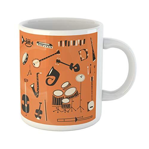 Semtomn Funny Coffee Mug Violin Jazz Instruments Guitar Piano Banjo Festival Music Cartoon 11 Oz Ceramic Coffee Mugs Tea Cup Best Gift Or Souvenir