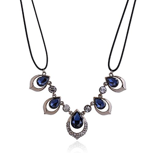 Discount A&C Cute Chic Rhinestone Necklace for Women. Unique Blue Color Alloy Necklace for Girl.