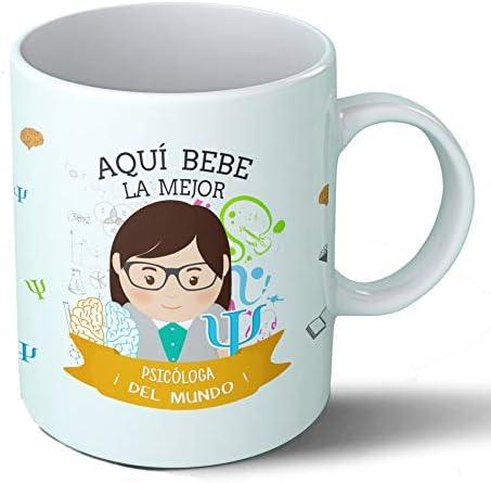 Planetacase Taza Desayuno Aquí Bebe la Mejor psicóloga del Mundo Regalo Original psicólogos Ceramica 330 mL: Amazon ...