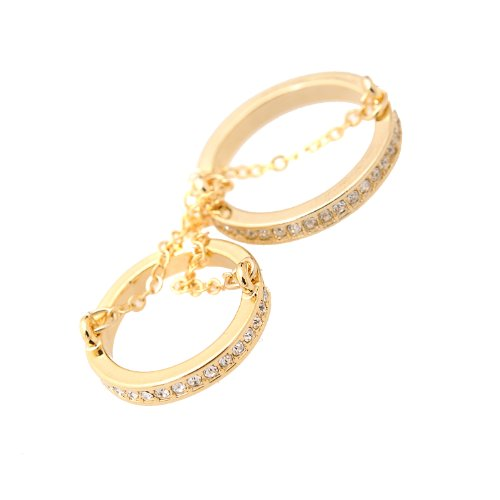 chelseachicNYC Crystal Double Layer Chain Knuckle Ring (Gold) ()