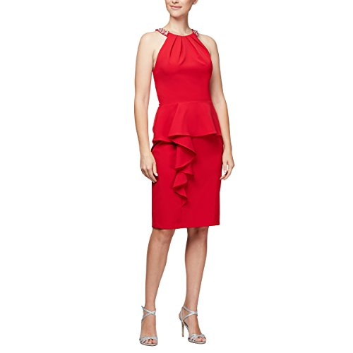 (Alex Evenings Women's Slimming Short Ruched Dress with Ruffle Skirt (Petite and Regular Sizes), Red Halter Neck,)
