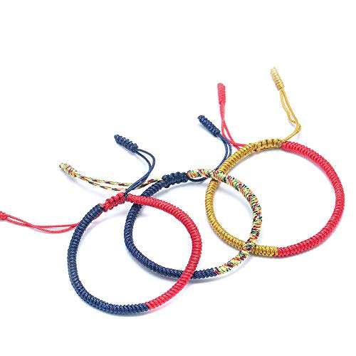 The Belcher's 3pcs/Set Tibetan Buddhist Woven Bracelets Lucky Protection Red String Knot Rope Handmade Friendship Bracelet for Mens Womens Jewelry-Red Yellow ()