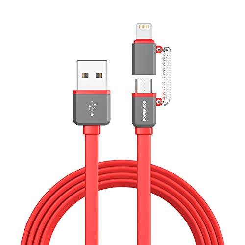 Amazon.com: POWERADD MFi Certified iPhone Charger, 3.3ft 2 in 1 iPhone Micro USB Cable 8 Pin Apple USB Charging Cord for iPhone iPad, Samsung Galaxy, Huawei and Other Android Phones Tablets-red: Electronics