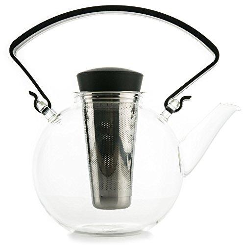 GLASS TEA POT WITH INFUSER - Teapot for Loose Leaf Tea with Tea Strainer, Tea Maker Infuser for Hot & Iced Tea, Holds 3-4 Cups, 1.2 Liter   40 oz