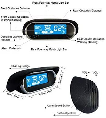 BeneGlow Dual-core Front and Rear LCD Display Car Vehicle Reverse Backup Radar System with Parking Sensors 8 Sensors, Deep Blue